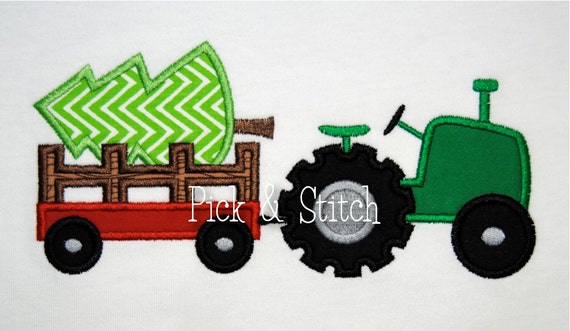 Embroidery Design Tractor With Tree Zig Zag