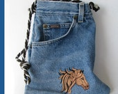 Jean purse with embroidered horse