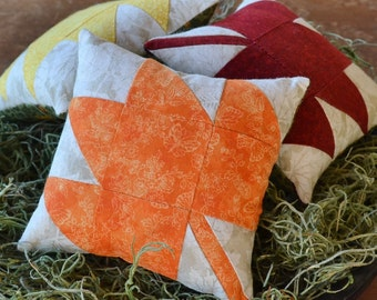 Fall Leaves Decorative Pillows - Autumn Bowl Fillers - Fall Colors Tucks - Maple Leaves - Red Orange Yellow Green - Seasonal Home Decor