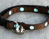Cat Collar - Dark Chocolate with Turquoise Polka Dots