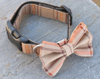 """Ready To Ship Medium 1"""" Dog Collar With Bow Tie - Fall Brown Plaid"""