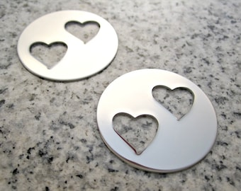 """1 1/4"""" (32mm) Round Double Heart Hole Washer Stamping Blanks, 22g Stainless Steel - AWESOME Silver Alternative DBLHTRW10"""
