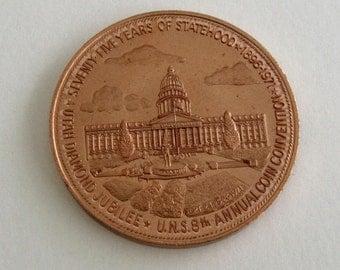 Utah Medal, 75 Years of Statehood, Utah Numismatic Society, Copper