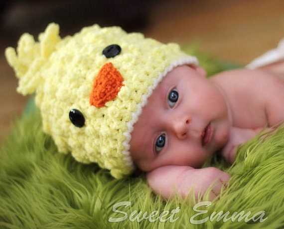 Baby hat CROCHET PATTERN Spring Chick Beanie PDF Digital