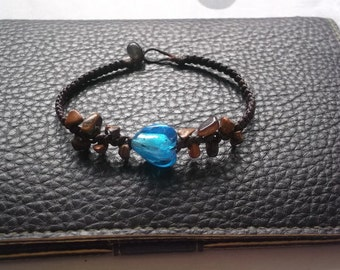 Blue heart beat with tigers eye stone bracelet Thailand handmade jewelry on Thank giving gift new collection by Nannapatt