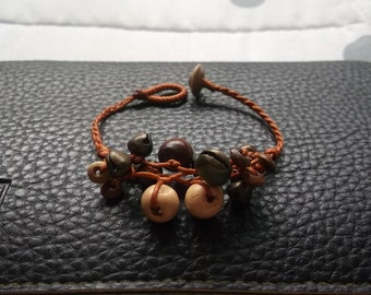 light brown wood beads bracelet Thailand handmade jewelry on New year gift new collection by Nannapatt