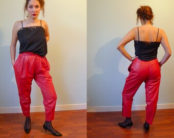 80s cherry red super soft leather highwaisted pants trousers S
