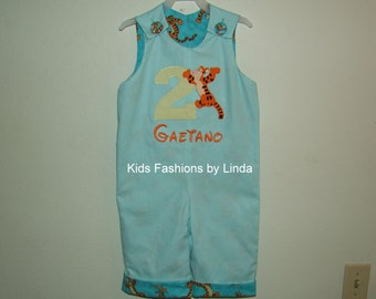 Personalized Aqua Kona Cotton/Tigger Fabric  Birthday Longall