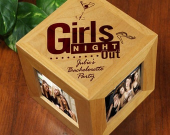 Engraved Girls Night Out Wooden Photo Cube -gfy422644