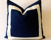 16x16 Navy Blue Cotton Canvas Pillow Cover with Off white Grosgrain Ribbon- Decorative Throw Pillow Cover - Cushion Cover 41x41 cm