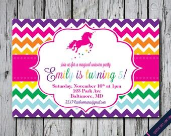 Unicorn Rainbow Birthday Party Invitation - Printable DIY