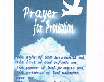 Dove in Clouds Prayer for Protection greeting card