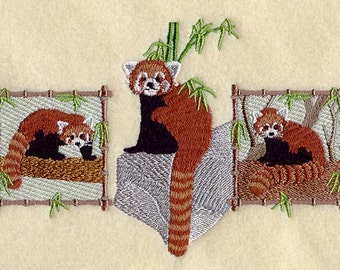 Red Panda Trio Embroidered Flour Sack Hand/Dish Towel