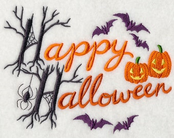 Classic Happy Halloween Embroidered Flour Sack Hand/Dish Towel
