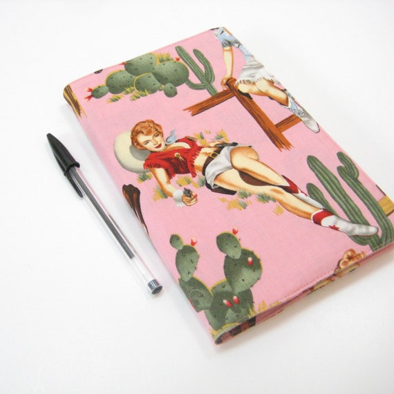 Cowgirl Large Moleskine cover, pink red green cactus blue southwest, Cloth covers for 21 x 13cm Moleskine 2013 planner or journal