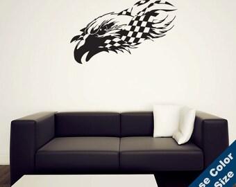 Nascar Eagle Wall Decal - Vinyl Sticker - Free Shipping