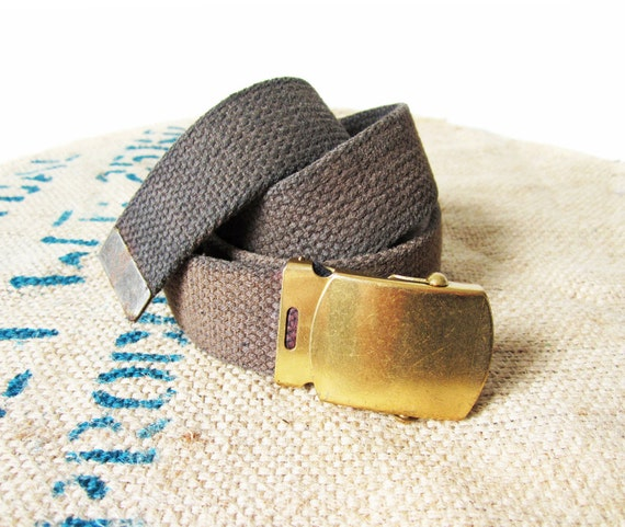Vintage WWII Navy Belt Faded Black Cloth Web 1940s Brass Buckle Military Cinch