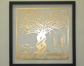 50th GOLD ANNiVERSARY Trees Of Life Silhouette Paper Cut CUSTOM ORDER Per Your Request W/Names of Family Members Cut in Gold Framed OOaK