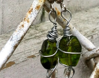 Green Glass Wire Wrapped Earrings