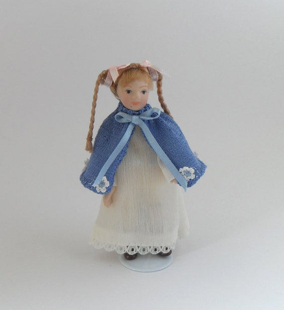 Dollhouse Miniature Cape Handmade Knitted with Crochet Flowers for 1:12 scale Girl Doll - Blue - by Joyce Emmott