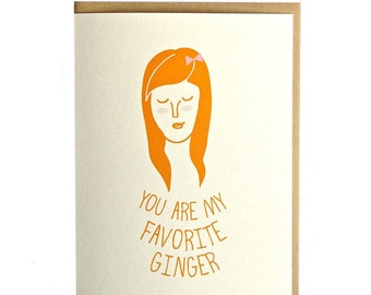 Ginger greeting card, handmade, red head, hand drawn greeting card