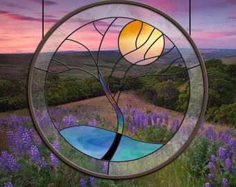 Stained Glass Window Panel • Crystal Tree Yellow Moon round glass panel
