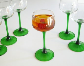 Vintage, Cocktail Glasses, Cordial Glasses, Durand Luminarc, France, Emerald Green, Green Stemmed, French Glassware, Barware, Gift under 50