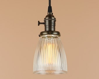 Mini Pendant Light w/ Holophane Style Glass Shade - Antique Reproduction Cloth Wire - Hand Finished in Oil Rubbed Bronze