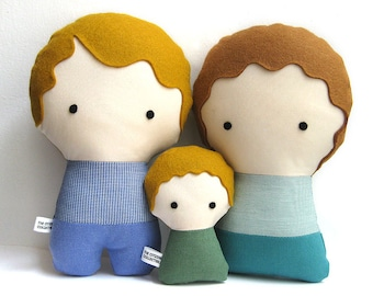 Couple with baby Personalized Dolls. Handmade Plush Dolls. Custom your own family.