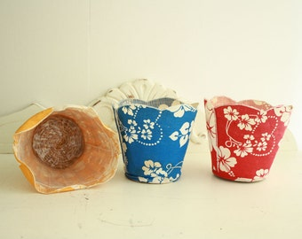 Three(3) Vintage Floral Baskets - Red, Blue and Yellow Baskets - Vintage Cloth Cache Baskets - Flower Pot Covers -Vintage Fabric Baskets