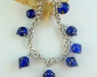 "Beaded Bracelet - Lampwork Beads and Argentium Silver  -""Zella"""