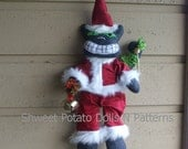 Santa Cat Christmas Folk Art Doll