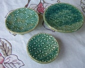 3 size, stackable, candle / soap  plates plates - Blue-Green, Grid Diamond Patterns