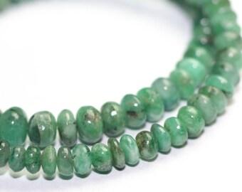 Emerald Smooth Rondelles 15 Green Kelly Green Precious Gemstone