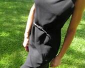 1990s Ann Taylor Little Black Dress with Belt Career Wear Sleeveless Size 6