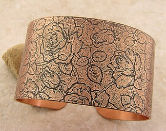 "Etched Copper Bracelet Cuff Roses and Thorns, Black Patina, 1.5"" Wide"