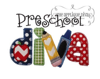 Back to School Preschool Diva Digital Embroidery Design Machine Applique