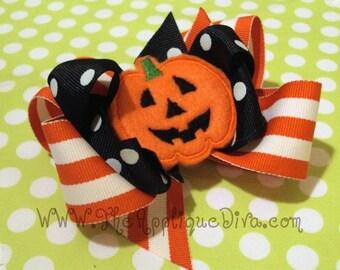 Halloween Pumpkin Hair Bow Center Embroidery Design Machine Applique