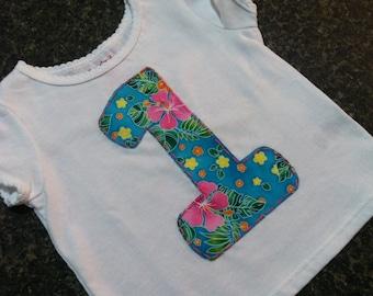 Hawaiian Hibiscus 1st Birthday Shirt