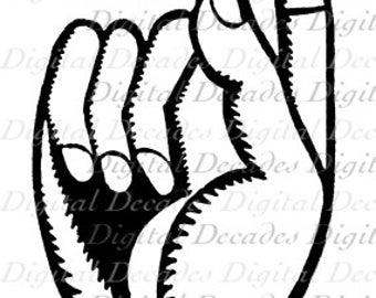 Hand Finger Point Remember Bow - Digital Image - Vintage Art Illustration