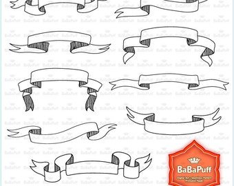 Instant Downloads, Digital Ribbon Banners Clip Art. Personal and Small Commercial Use. BP 0838