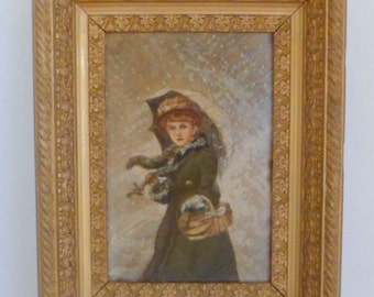 Sale Oil Painting Victorian Lady in Snow Framed Elegant 10 x 13 Painting on Board Vintage 1920s