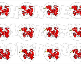 Red Dragon bottlecap image sheet -  school mascot