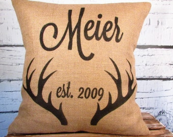 Burlap antlers personalized family name pillow - established date - color of your choice - 16X16