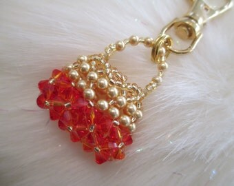 Fire Opal Crystal and Gold Purse Charm or Zipper Pull