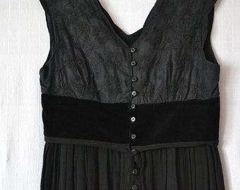 black  dress, upcycled clothing, cotton, gothic clothing, recycled dress