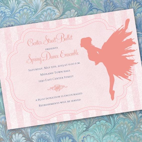 ballet recital invitations, ballet birthday party invitations, pink ballerina party invitations, pink ballerina birthday, IN237