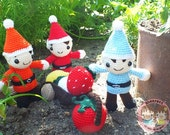 PATTERN : Farmer Dwarves with harvest cart(Strawberry,lemon, turnip and tomato)