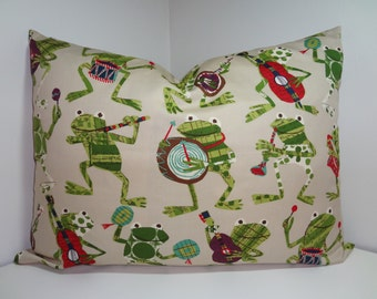 Musical Frog Pillow Sham Decorative Pillow Cover Throw Pillow 20x26 Sham