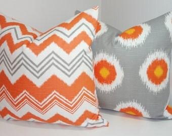 Pillow Cover Set Grey Orange Dot Ikat & Zig Zag Pillow Cover Decorative Throw Pillow 18x18
